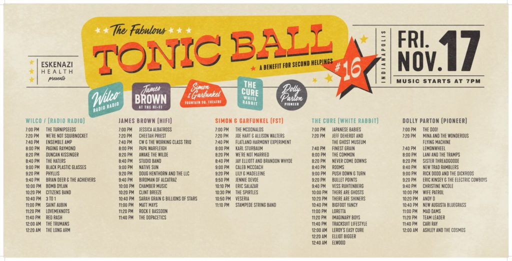 Tonic Ball 16 Schedule Lineup